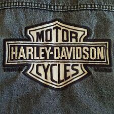 XL HARLEY-DAVIDSON Vintage DENIM VEST w/ American Flag-USA & ROLLING STONES Logo