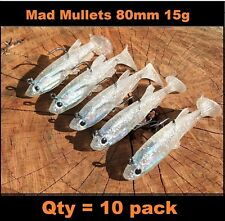 x 10 Vibe lure soft plastic 80 mm Mullet paddle tail soft vibe Flathead Jewfish