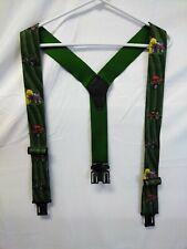 Perry Suspenders Made in USA Green Farm Theme Elastic Trucker Farmer Tractor