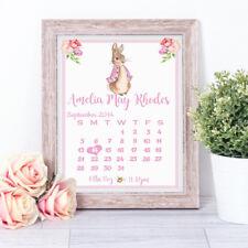 Personalised Peter Rabbit Birth Stats Word Art Nursery Print Christening Gift Pk