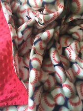 Baseball Fleece w/ Cuddle Dot Minky Back 42X36 For Baby thru Child Sized Afghan
