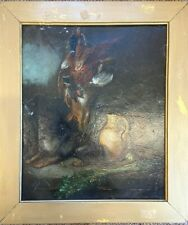 19th Century Hunting Dog With Game Oil On Canvas