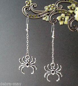 Creepy Dangly Spider Charm Gothic Kitsch Earrings - Halloween Horror