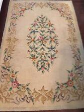"""Vintage 1930's Wool Beige and Pink Hooked Rug Floral 43"""" x 68"""""""