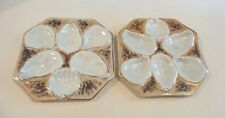 PAIR ANTIQUE AUSTRIA OCTAGONAL 5-WELL EMBOSSED OYSTER PLATES with GOLD TRIM