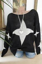 OVERSIZE pullover lavorato a maglia stella sciolto BIG 36 38 40 NERO VINTAGE