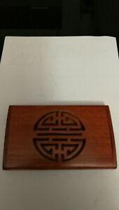 Etui carte de visite en bois style chinois