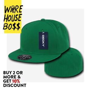 DECKY RP1 MENS PLAIN HAT FLAT BILL BASEBALL HATS CASUAL FITTED CAP BASIC CAPS