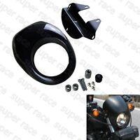 Light Black Head Light Fairing Mask Front Visor For Harley Sportster Racer