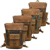 "Men Real Leather Waxed Canvas Rucksack Backpack Travel Office 15"" Laptop Daypack"