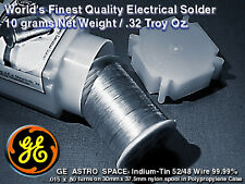 Aerospace Grade 99.99% INDIUM-TIN WIRE 52/48 m.p.231°F .015x80Turns=10gm/.32T.O.