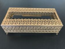 Vintage Gold-tone Metal Filigree Vanity Tissue Box Cover Kleenex Holder Funeral