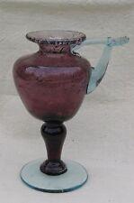 Lampe à huile en verre bullé de Biot - Améthyste/bleu