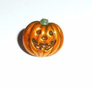 "Small Cute Orange Jack-O'-Lantern Halloween Pumpkin Metal Shank Button - 1/2"""