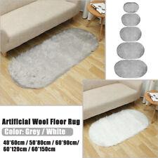 Oval Fluffy Rug Faux Fur Plush Fluffy Shaggy Area Bedroom Living Room Floo