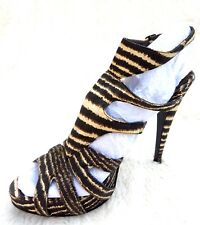 Brown & Cream Striped Open High Stiletto Heel Sandals Cage Shoes 8 41