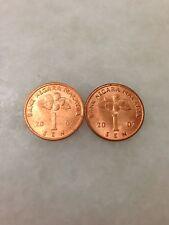 (JC) 2pcs 1 sen (cent) 2007 Malaysia  Bunga Raya coin - UNC