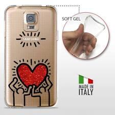 Galaxy S5 TPU CASE COVER GEL PROTETTIVA TRASPARENTE KEITH HARING Glitter Heart