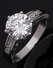Simple Size 8 Fashion Rings For Women White Sapphire 10K Gold Filled Anniversary