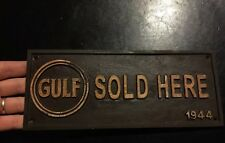 Gulf Oil Sign Solid Metal Antique Style Gas Coal Advertisement Patina Finish F/