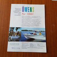Vintage 1961 Owens Boating Brochure color Exeter Brighton York Kent Dover etc.