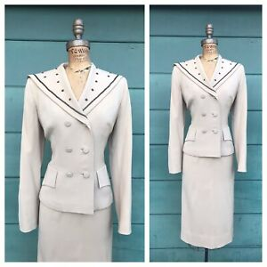 1950's Vintage 50s BEADED GABARDINE Beige Tan Double Breasted Skirt Dress Suit S