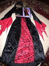 Nwt Girl'S Totally Ghoul Wicked Sorceress Dress With Hood Red Black Size Small S