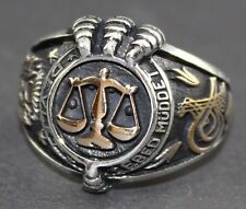 925 sterling silver men ring . Handmade .Scales of justice