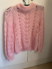 H&M Pale Pink Knitted Crochet Lace Jumper Sold Out Bloggers Fave Size Small 10