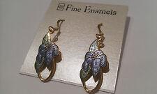 Fine Enamels, Rhodium plated, hook, Designer blue flower earrings, EW0351/AJ/GAJ