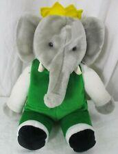 "Vintage Gund BABAR King of the Elephants Plush Stuffed Crown Green Suit 1988 14"""