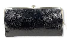 Hobo Lauren Embossed Double Frame Leather Wallet Clutch [Black] NWT $148