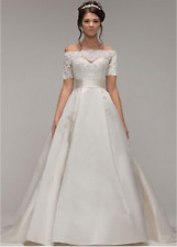 Wedding dress - Ivory and lace satin - size 10
