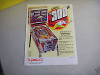 300   GOTTLIEB  PINBALL  ARCADE GAME  FLYER