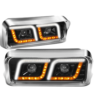 [LED DRL+Signal]Fit 81-19 Western Star 4800 Kenworth W900 Projector Headlight