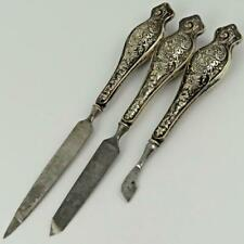 ANTIQUE VICTORIAN STERLING SILVER HANDLE VANITY MANICURE CUTICLE NAIL FILE SET