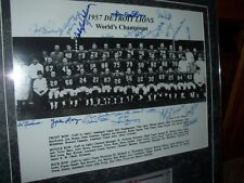RARE SIGNED 1957 DETROIT LIONS CHAMPIONSHIP TEAM PICTURE THEN AND NOW