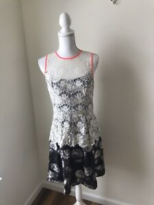 Jessica Simpson Because Black dress Size 8 NWT Lace Floral Hot Pink Sleeveless