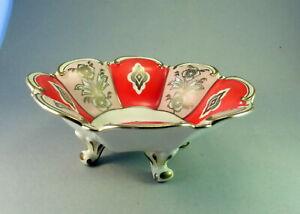 Porzellan  Fußschale Tillowitz  Schlegelmilch  EPOS Art Deco rot, Goldrand