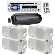 """Pyle 200W Marine In Dash Cd Mp3 Aux Stereo (4) 3.5"""" 200W Boat Speakers + Cover"""