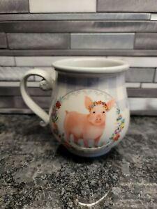 Pioneer Woman Gray Gingham with Pig 15-Ounce Ceramic Mug