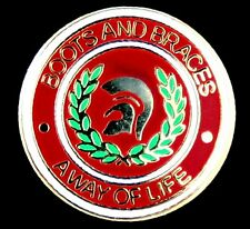 "SKINHEAD ""BOOTS AND BRACES A WAY OF LIFE"" ENAMEL PIN BADGE"