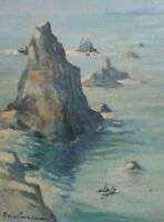Mystery map French Impressionist Island oil painting; Marinacce, signed