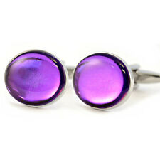 Metallic Royal Purple Cufflinks Gift Box shiny shiney reflective violet amethyst
