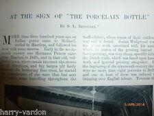Rare Photo Article 1901 Wedgwood Pottery Delft Ware Porcelain BottleTile Pieters