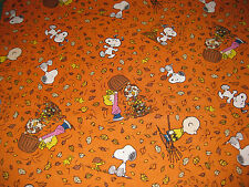 "Snoopy Peanuts Leaves Charlie Brown Fall Autumn Fabric - Fat Quarter 18"" x 21"""