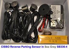 CISBO Sea Grey Colour Reverse Rear Parking 4 Sensor Aid Kit Audio Buzzer Alarm