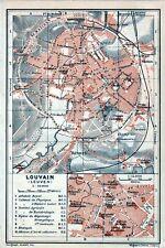 Antique map kaart plattegrond  Louvain Leuven 1905