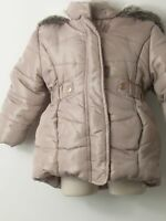 GIRLS BLUE ZOO BEIGE HOODED PADDED QUILTED  COAT JACKET KIDS AGE 18-24 MONTHS