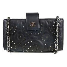 Chanel - Medium Stud Camellia CC Crossbody Shoulder Bag Black Flower Bag Flap